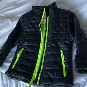 Black puffer jacket neon yellow faux fur lining 2T